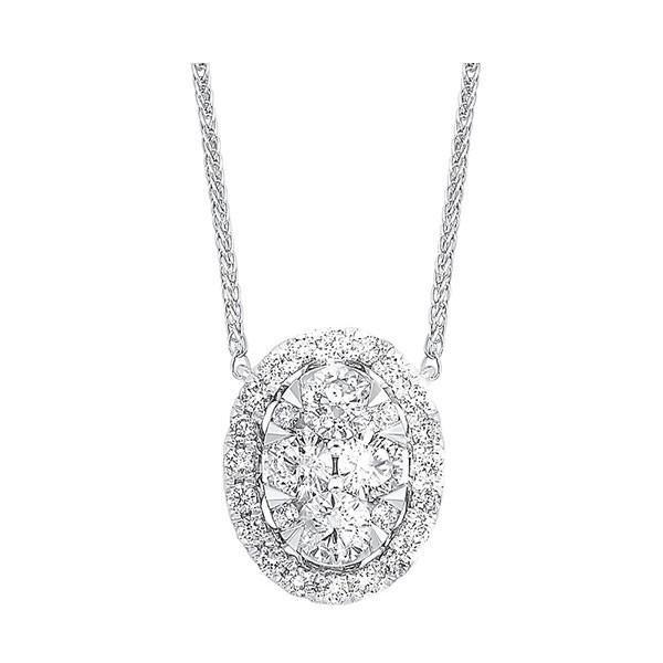 Diamond Starburst Eternity Oval Cluster Pendant Necklace In 14k White Gold (1/3 Ctw)