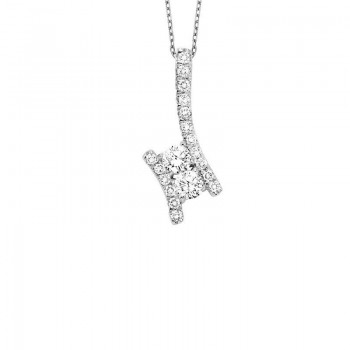 Twogether Two Stone Diamond Pendant In 14K White Gold (1/4 Ct. Tw.)