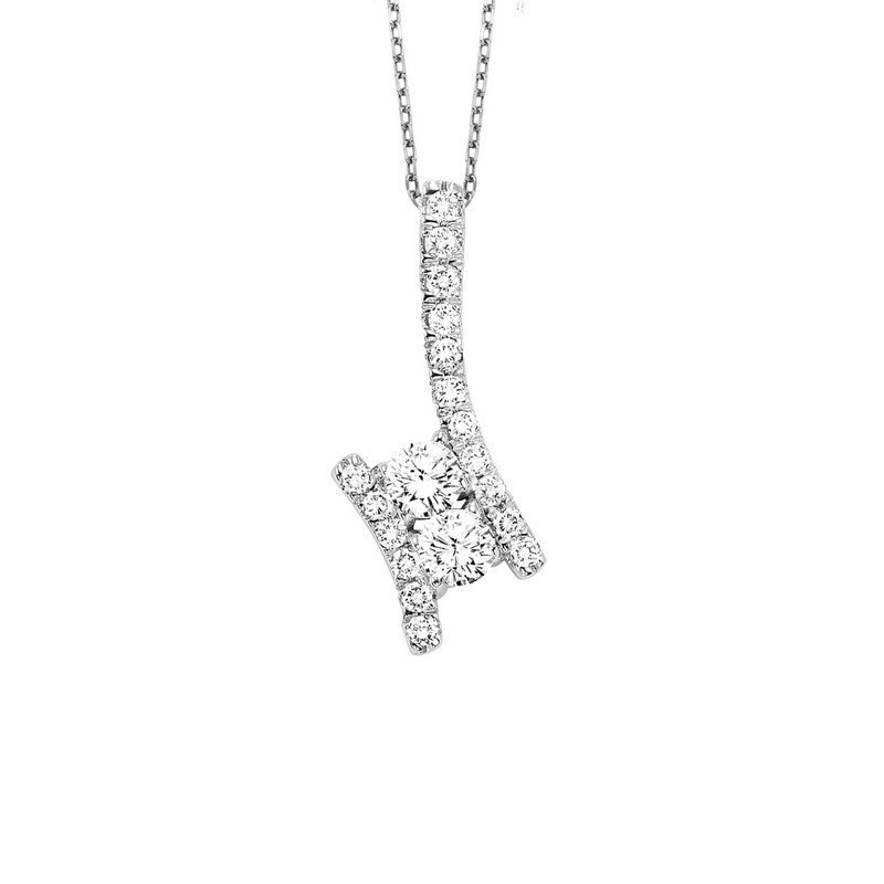 Twogether Two Stone Diamond Pendant In 14K White Gold (1/2 Ct. Tw.)