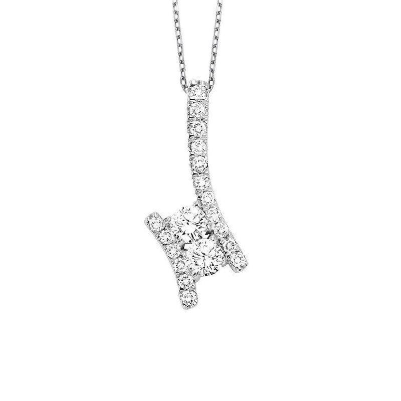 Twogether Two Stone Diamond Pendant In 14K White Gold (3/4 Ct. Tw.)