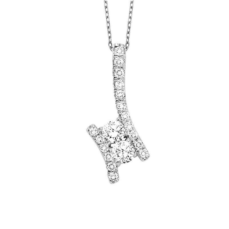 Twogether Two Stone Diamond Pendant In 14K White Gold (1 Ct. Tw.)