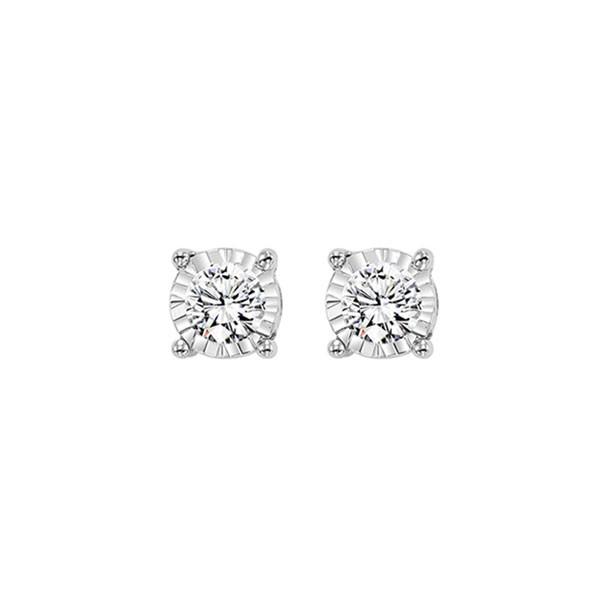 Diamond Solitaire Starburst Stud Earrings In 14k White Gold (1/10ctw)