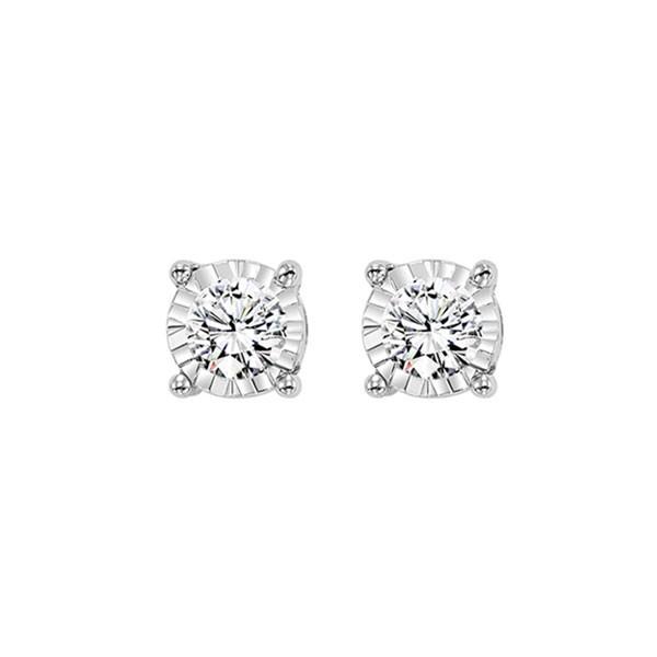 Diamond Solitaire Starburst Stud Earrings In 14k White Gold (1/4ctw)