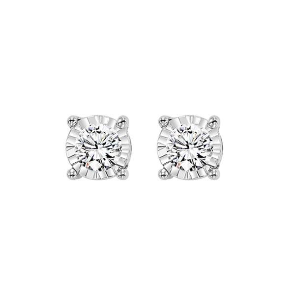 Diamond Solitaire Starburst Stud Earrings In 14k White Gold (1/3ctw)