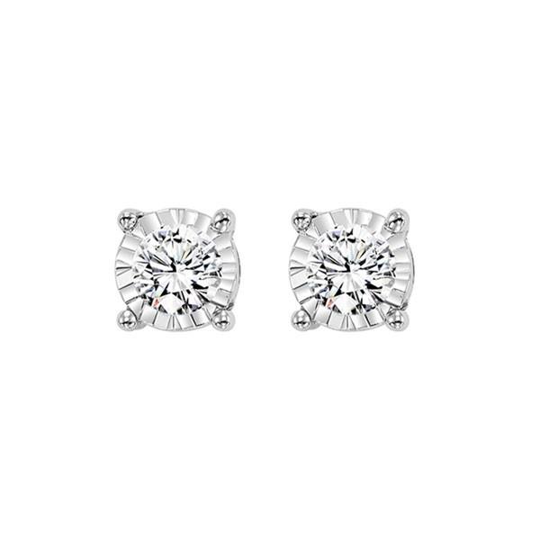 Diamond Solitaire Starburst Stud Earrings In 14k White Gold (1/2ctw)