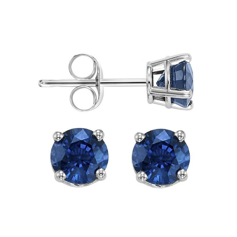 Four Prong Sapphire Studs In 14K White Gold (3 MM)