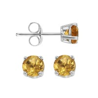 Four Prong Citrine Studs In 14K White Gold (3 MM)