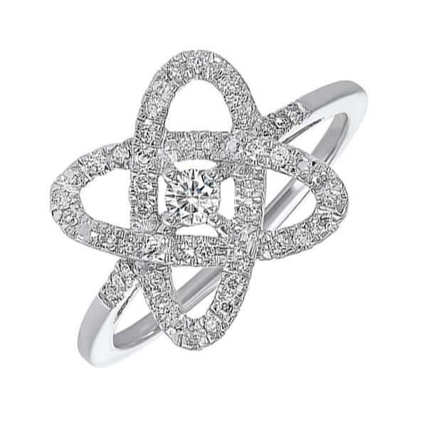 Diamond Infinity Love Heart Knot Promise Ring In 14k White Gold (1/4ctw)