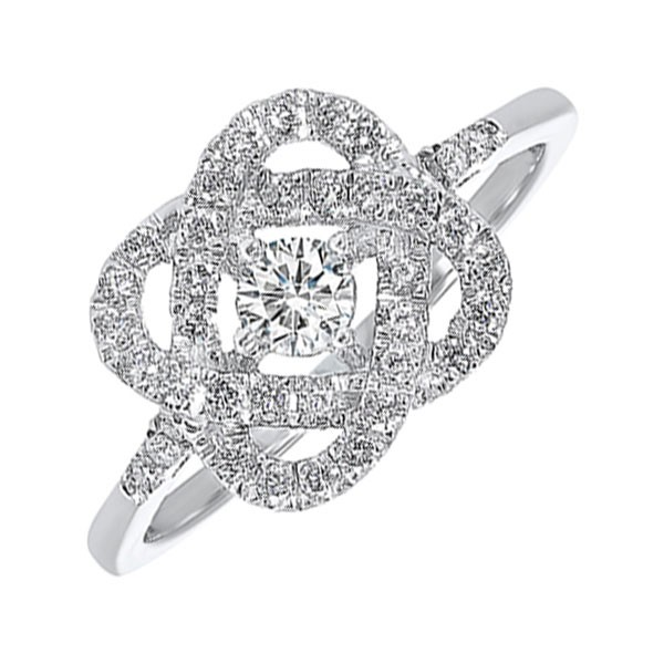 Diamond Infinity Love Heart Knot Promise Ring In 14k White Gold (1ctw)