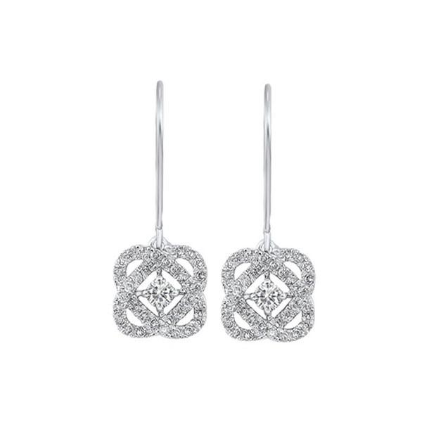 Diamond Infinity Love Heart Knot Dangle Earrings In 14k White Gold (1/4ctw)