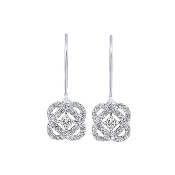 Diamond Infinity Love Heart Knot Dangle Earrings In 14k White Gold (1 Ctw)