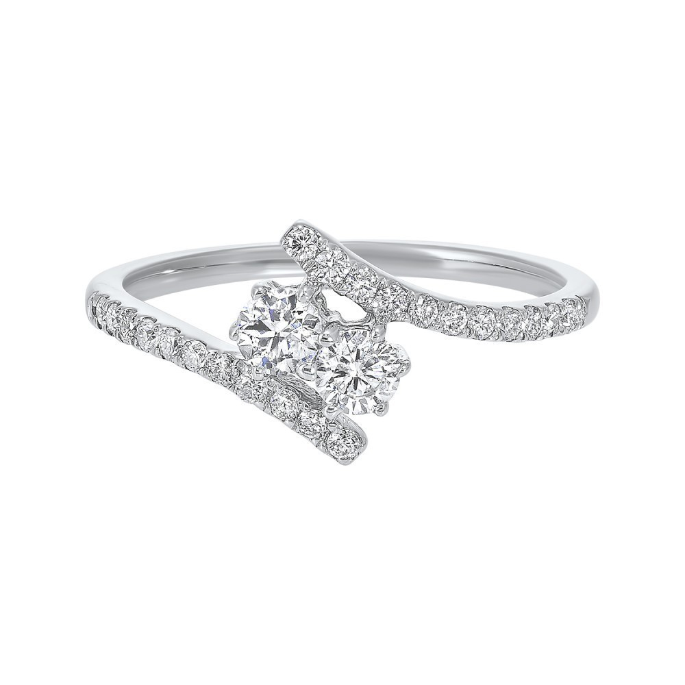 Twogether Two Stone Diamond Ring In 14K White Gold (1/2 Ct. Tw.)