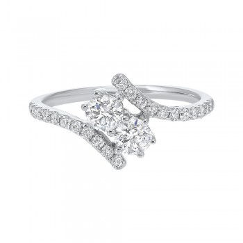 Twogether Two Stone Diamond Ring In 14K White Gold (3/4 Ct. Tw.)