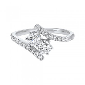 Twogether Two Stone Diamond Ring In 14K White Gold (1 Ct. Tw.)