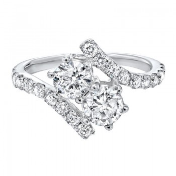 Twogether Two Stone Diamond Ring In 14K White Gold (1 1/2 Ct. Tw.)