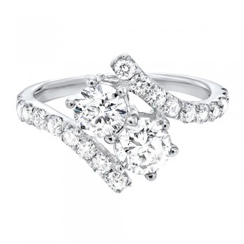 Twogether Two Stone Diamond Ring In 14K White Gold (2 Ct. Tw.)