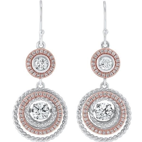 Crystal Halo Drop Earrings In Two-Tone Sterling Silver