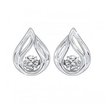 Solitaire Teardrop Anniversary CZ Earrings In Sterling Silver