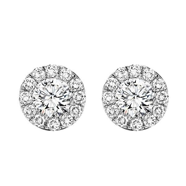 Crystal Halo Round Stud Earrings In Sterling Silver