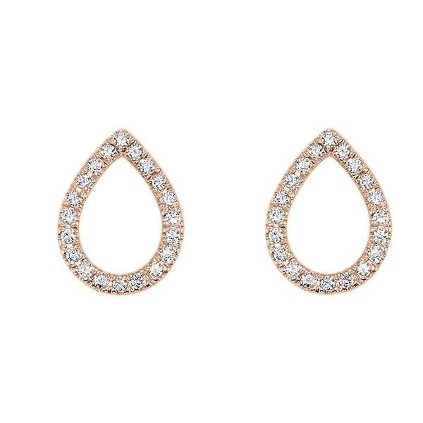 Teardrop Diamond Earrings In 14K Rose Gold (1/12 Ct. Tw.)