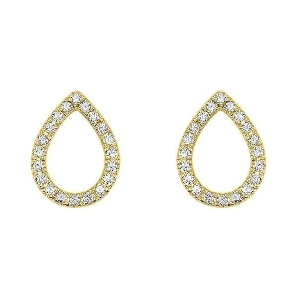 Teardrop Diamond Earrings In 14K Yellow Gold (1/12 Ct. Tw.)