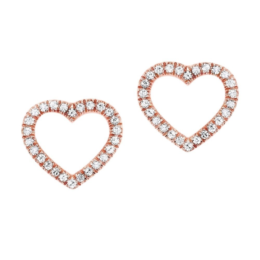 Diamond Heart Outline Stud Earrings In 14K Rose Gold (1/10 Ct. Tw.)