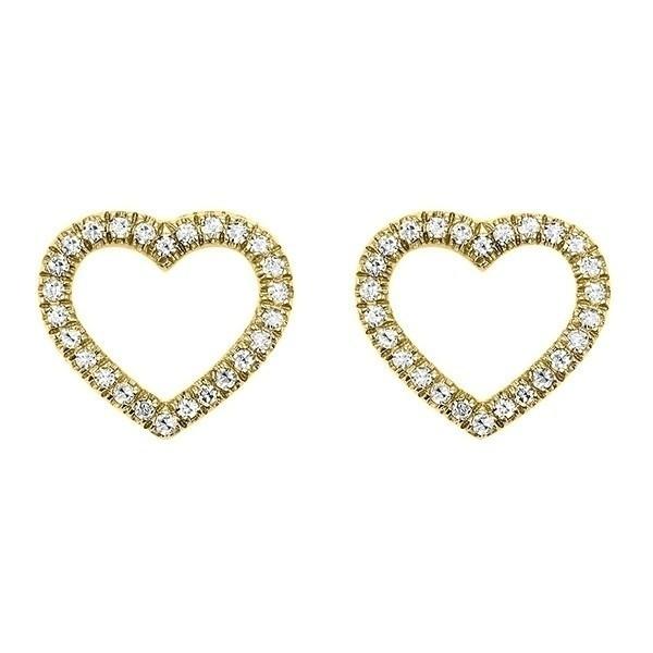 Diamond Heart Outline Stud Earrings In 14K Yellow Gold (1/10 Ct. Tw.)