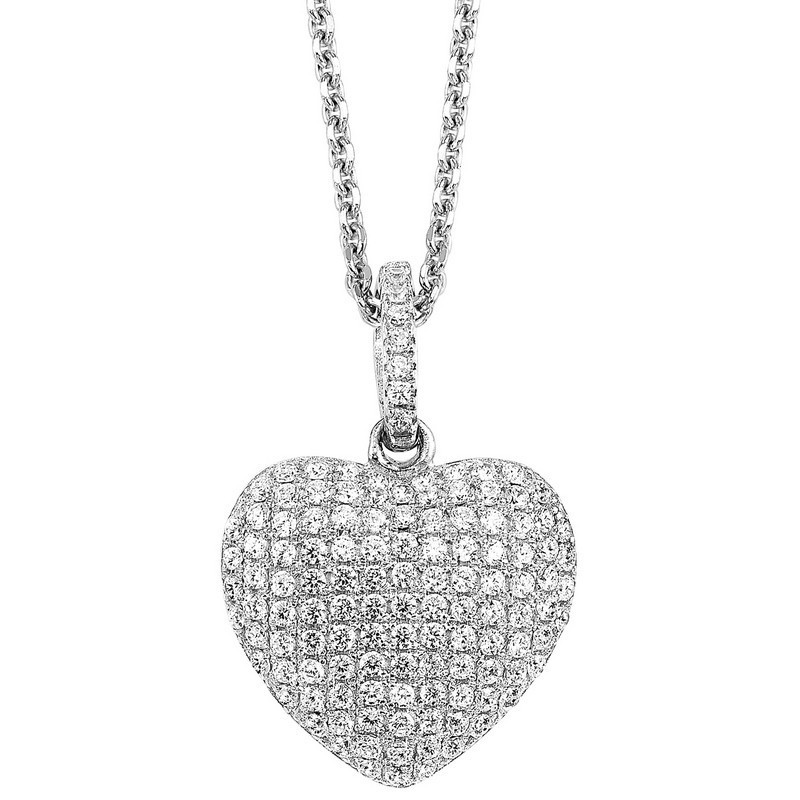 Pave Heart CZ Pendant In Sterling Silver