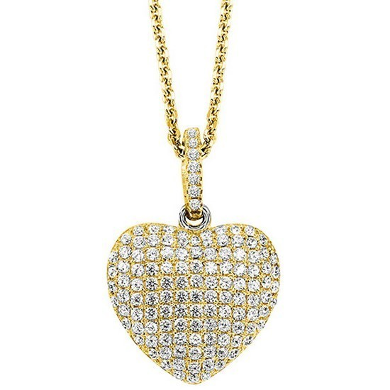 Crystal Heart Pendant In Yellow Sterling Silver