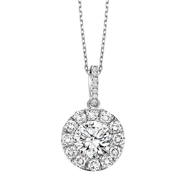 Crystal Halo Pendant In Sterling Silver