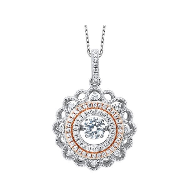 Solitaire ROL Rhythm Of Love Eternity Filigree Wreath CZ Pendant In Sterling Silver