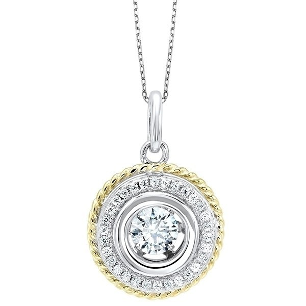Crystal Halo Rope Pendant In Sterling Silver