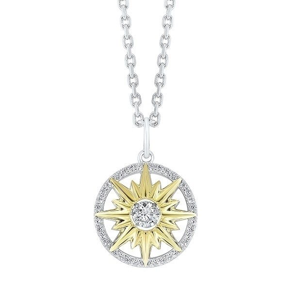 Crystal Star Halo Pendant In Two-Tone Sterling Silver