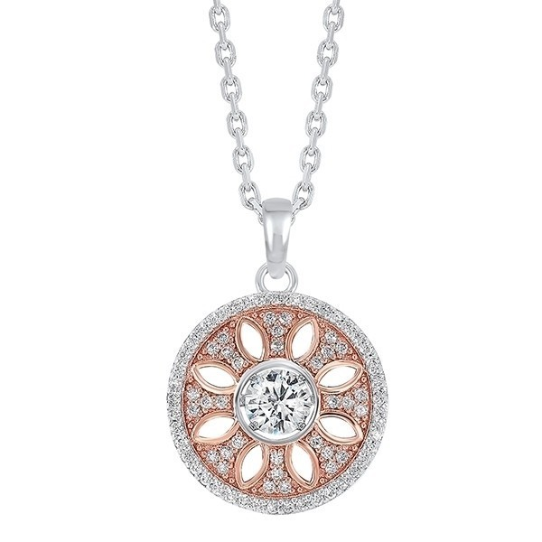 Crystal Rose Halo Pendant In Two-Tone Sterling Silver