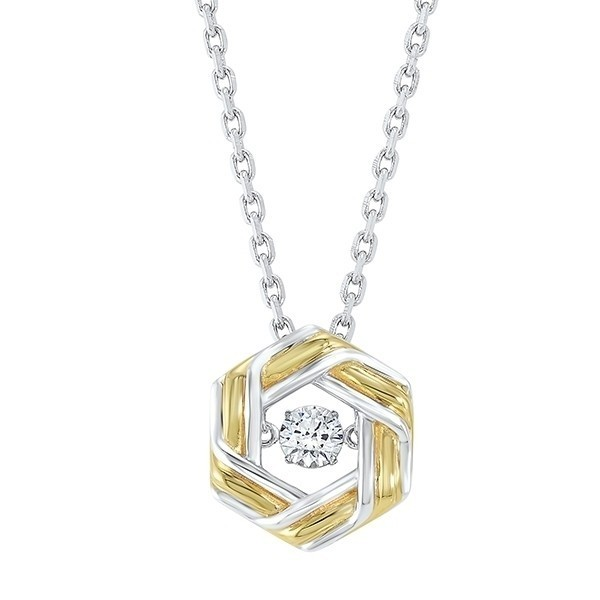 Geometric Crystal Pendant In Two-Tone Sterling Silver