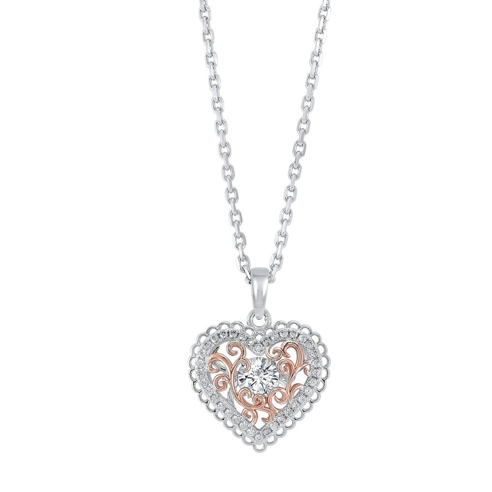 Intricate Heart Crystal Pendant In Two-Tone Sterling Silver
