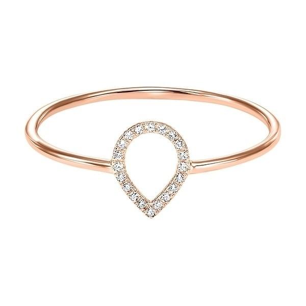 Teardrop Outline Diamond Ring In 14K Rose Gold (1/20 Ct. Tw.)