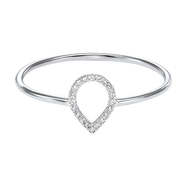 Teardrop Outline Diamond Ring In 14K White Gold (1/20 Ct. Tw.)