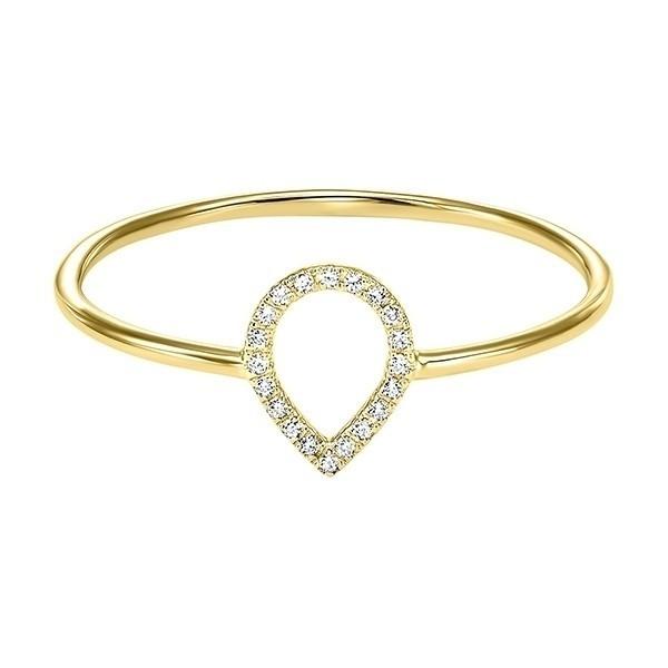 Teardrop Outline Diamond Ring In 14K Yellow Gold (1/20 Ct. Tw.)