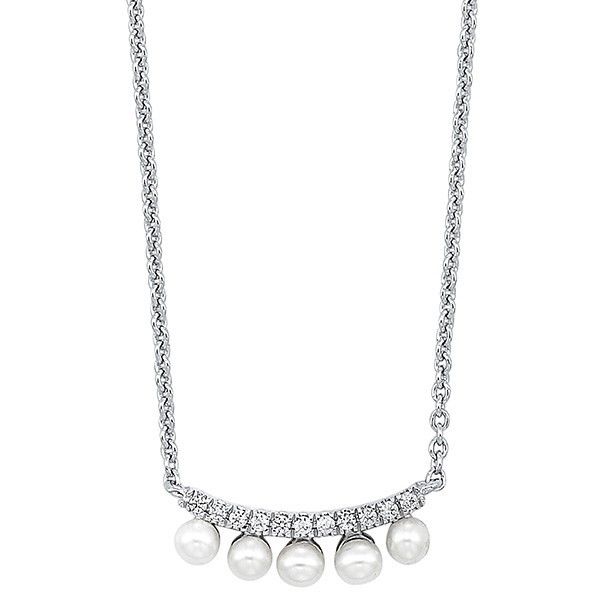 Pearl & Diamond Bar Pendant In 10K White Gold (1/20 Ct. Tw.)