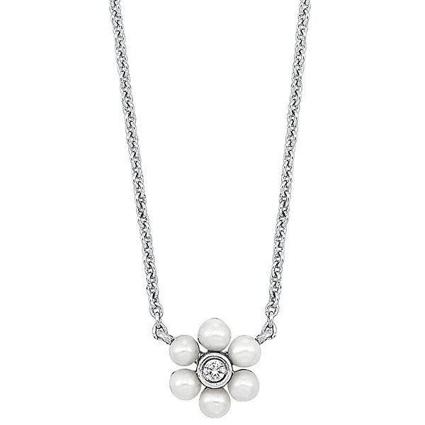 Floral Pearl & Diamond Halo Pendant In 10K White Gold (1/50 Ct. Tw.)