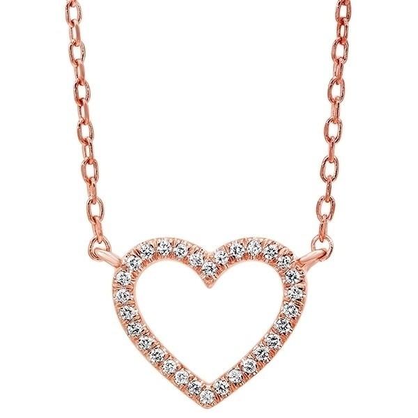 Diamond Heart Outline Pendant In 14K Rose Gold (1/20 Ct. Tw.)