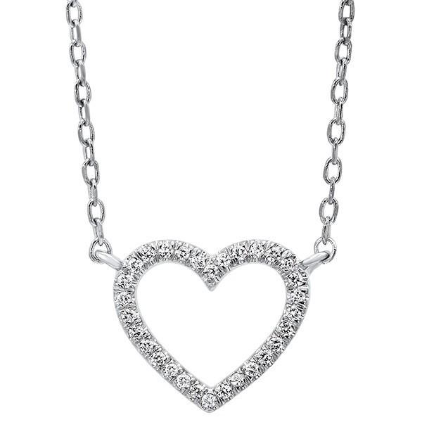 Diamond Heart Outline Pendant In 14K White Gold (1/20 Ct. Tw.)