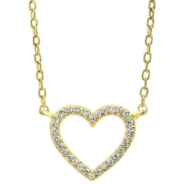 Diamond Heart Outline Pendant In 14K Yellow Gold (1/20 Ct. Tw.)