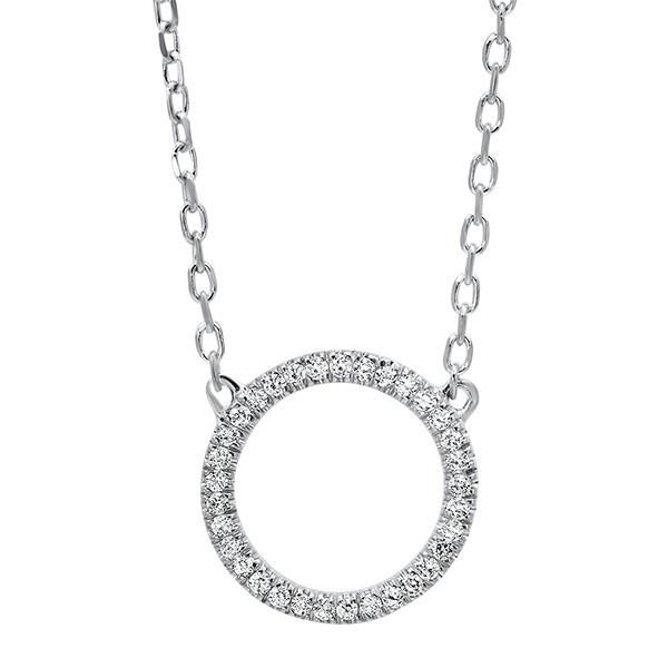 Diamond Circle Outline Pendant In 14K Whit Gold (1/20 Ct. Tw.)