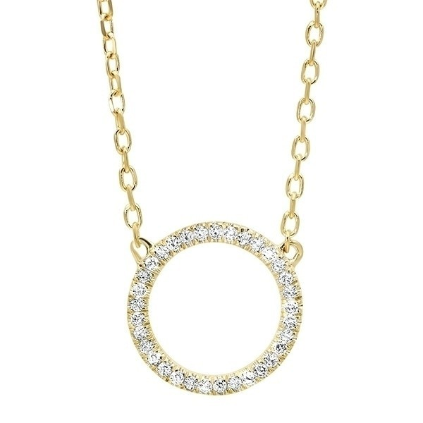 Diamond Circle Outline Pendant In 14K Yellow Gold (1/20 Ct. Tw.)