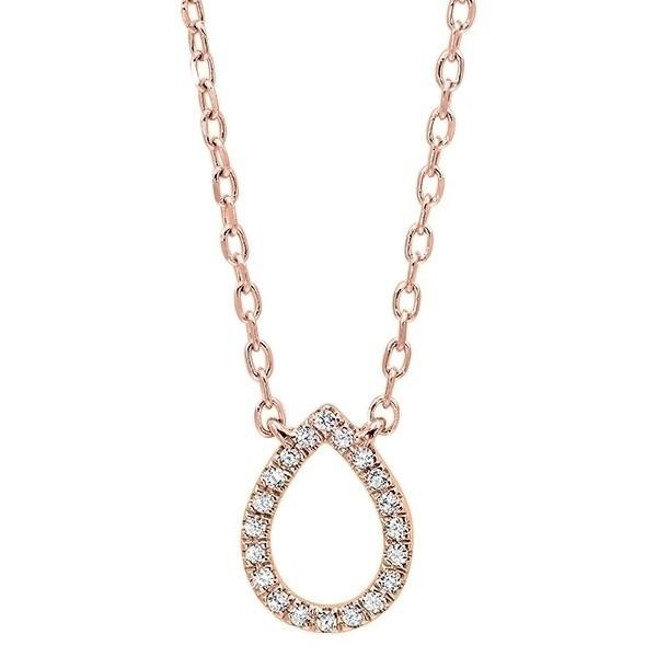 Diamond Teardrop Outline Pendant In 14K Rose Gold (1/20 Ct. Tw.)