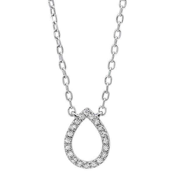 Diamond Teardrop Outline Pendant In 14K White Gold (1/20 Ct. Tw.)