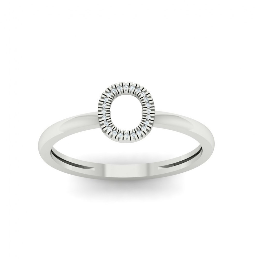 Diamond Initial O Stackable Ring In White Gold (0.03ctw)