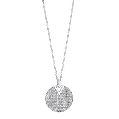 Cluster Circle Drop CZ Pendant Necklace In Sterling Silver